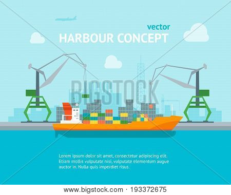 Cartoon Harbour of Port Town on a Landscape Background Concept Banner Card Flat Design Style. Vector illustration