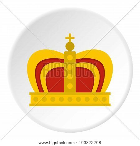 Monarchy crown icon in flat circle isolated on white background vector illustration for web