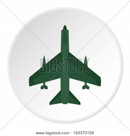 Aircraft with missiles icon in flat circle isolated on white background vector illustration for web