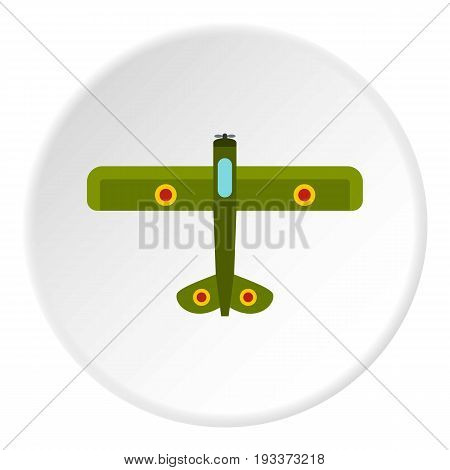 Army biplane icon in flat circle isolated on white background vector illustration for web