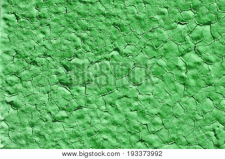 Texture of old paint on metal green color background big size abstraction