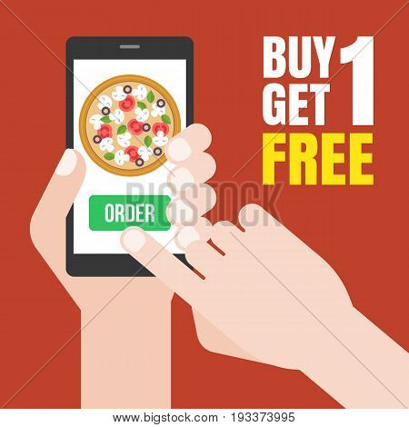 Hand holding smartphone to order pizza online and push on green button, with promotion buy one get one free, flat design vector for food delivery in e-commerce concept
