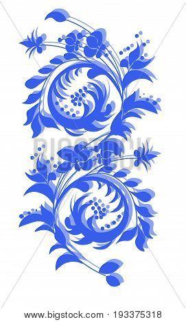 beautiful flower pattern ornament Khokhloma stylized blue