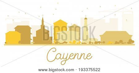 Cayenne City skyline golden silhouette. Simple flat illustration for tourism presentation, banner, placard or web site. Cityscape with landmarks.