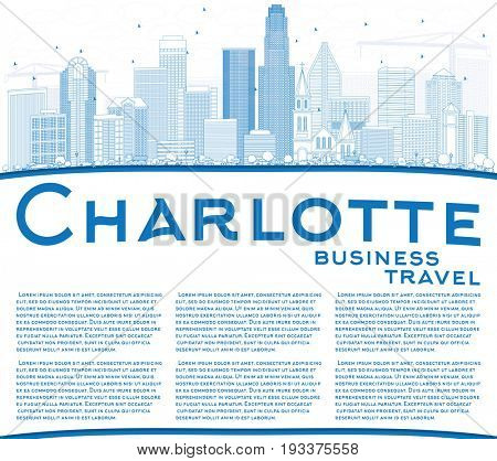 Outline Charlotte Skyline with Blue Buildings and Copy Space. Business Travel and Tourism Concept with Modern Architecture. Image for Presentation Banner Placard and Web Site.