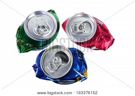 Crushed Drink Cans on Isolated White Background