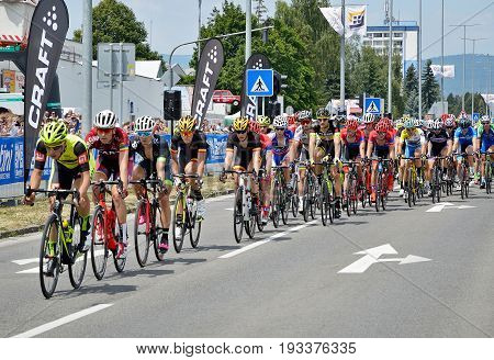 ZIAR NAD HRONOM, SLOVAKIA - JUNE 26, 2017: The Slovak and Czech National road cycling championship. Peter Sagan, Bora Hansgrohe in peloton. World champion in rainbow jersey.