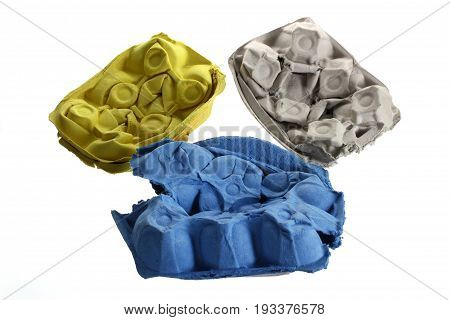 Crushed Egg Cartons on Isolated White Background
