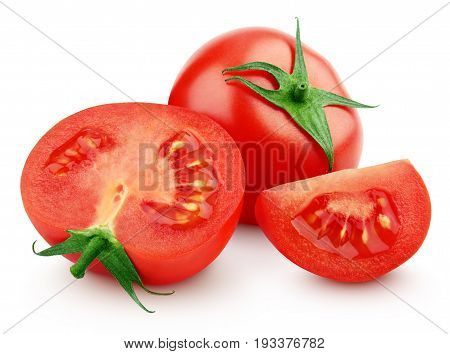Red Tomato Vegetable With Slices On White