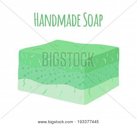 Handmade aroma soap. Natural hygiene product for health. Made in cartoon flat style