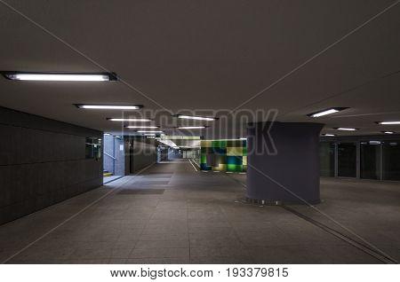 UNDERGROUND PASSAGE - City dwellers in a modern underground passage