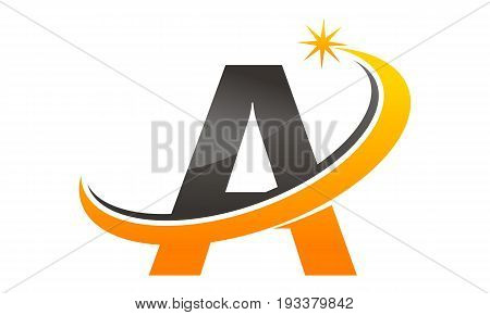 This image describe about Star Swoosh Letter A