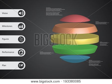 3D Illustration Infographic Template With Ball Horizontally Divided To Five Standalone Color Parts