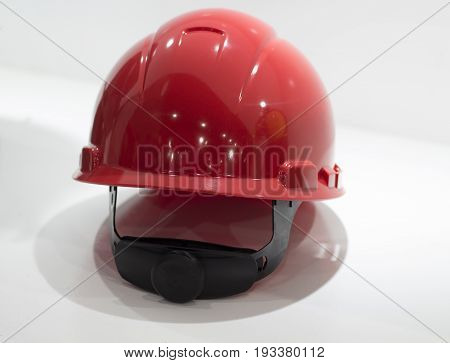 Red Safety helmet Isolated white background;Yellow Working Hard Hat;Personel Protection Equipment PPE;Rear View