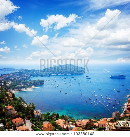 landscape of riviera coast and turquiose water of Mediterranean sea, cote dAzur at sunny summer day, French RIviera, France, retro toned