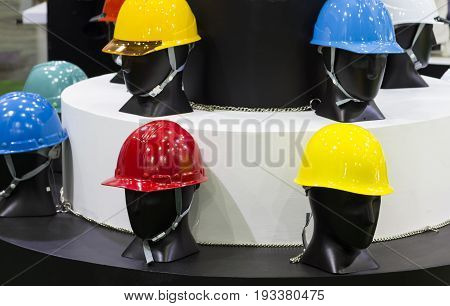 mannequins with Safety helmets on a shelf ; Working Hard Hat;Personel Protection Equipment PPE