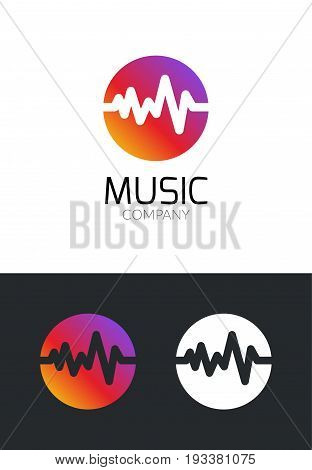 Music logo design concept. Business creative icon for musical company. Sound audio brand for mobile app or studio. Music player symbol.
