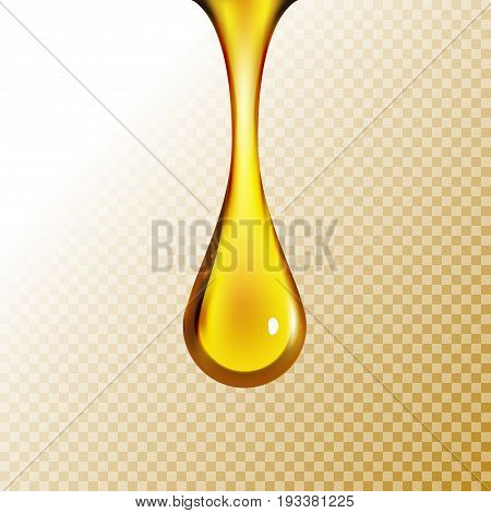 Golden oil drop isolated on white. Olive or fuel gold oil droplet concept. Liquid yellow sign.