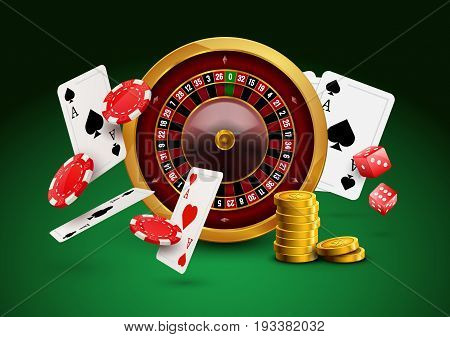 Casino roulette with chips, red dice realistic gambling poster banner. Casino vegas fortune roulette wheel design flyer.