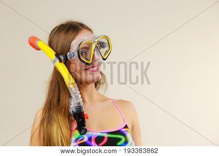 Woman With Snorkeling Mask Having Fun