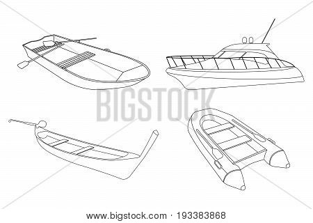 Set of Boat: Speedboat, Pirogue, Raft and Boat icon. Outline Vector Illustration.