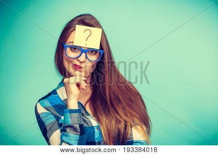Thinking Woman With Big Eyeglasses And Light Bulb