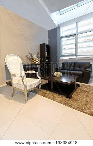 Living room interior detail with vintage furniture