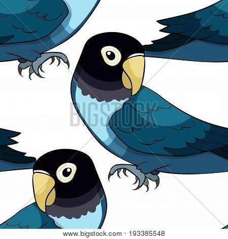 Seamless Pattern Masked Lovebird A Blue Parrot. Vector Illustration