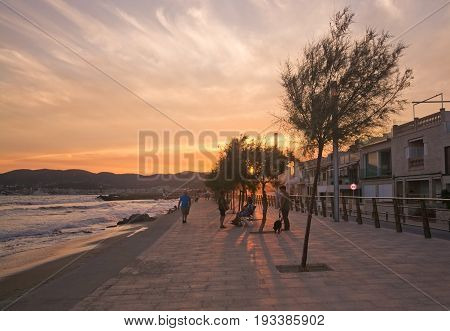 Sunny Evening Active People