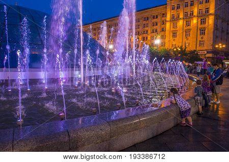 KIEV UKRAINE - JUNE 05 : The fountains on Maidan Nezalezhnosti in Kiev Ukraine on 05 June 2017 it is light and music fountain complex opend on May 01 2017