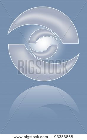 Abstract metal 3d circle shape with mirror reflection. Isolated design convex element vector eps10