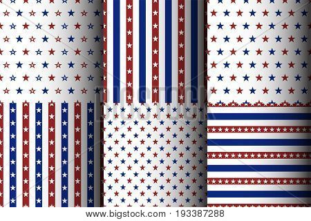 Set of american seamless starry patterns. Stock vector