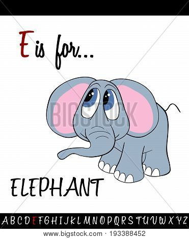 Illustrated vocabulary worksheet card with cartoon ELEPHANT for Children Education