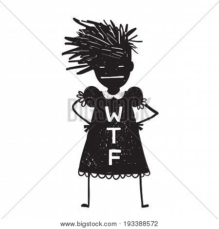 Fun character WTF sign evil look and messy hairstyle. Vector illustration.