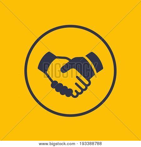 handshake, partnership, deal icon in circle, vector illustration