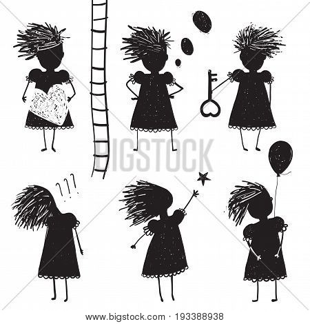 Different positions woman character black and white. Vector illustration.