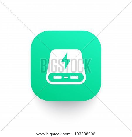 power bank icon, portable charger pictogram on green shape