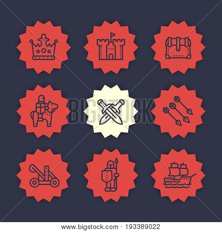 medieval war line icons set, knight, spearman, horseman, arrows, crown, castle, sailing vessel, catapult, siege