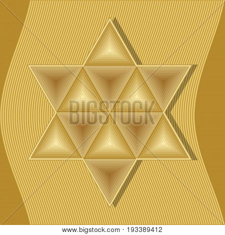 David star symbol of jew judaism and Israel composed of golden embossed triangles on gold wavy abstract background. Sign of equilibrium