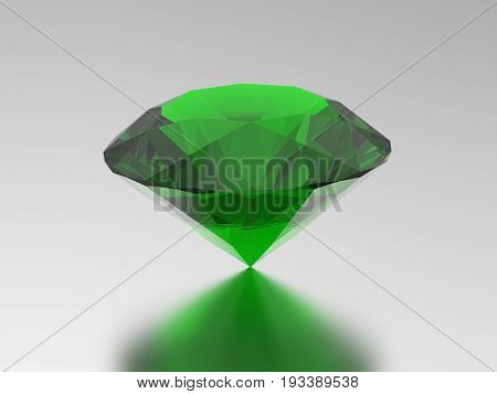 3D illustration green emerald round diamond gemstone with reflection on a grey background