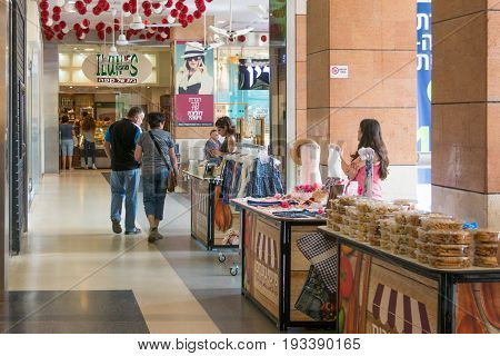 Modern Open Air Shopping Mall In Israel