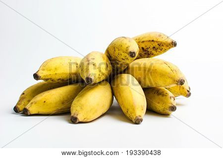 Small Tropical Banana Cluster Isolated On White