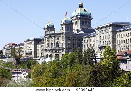 Bern Switzerland - April 21 2017: Massive building of The Federal Palace it is the seat of Federal Parliament (Swiss Federal Assembly) The Federal Council is housed here as well