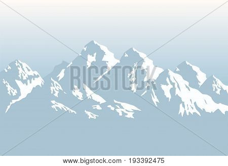 Grey snowcapped Himalaya mountains - vector background