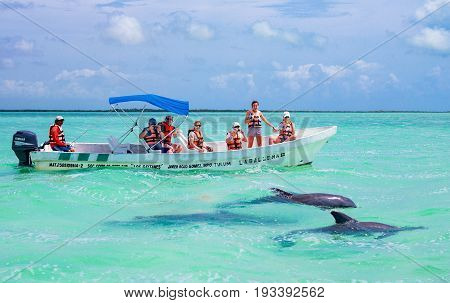 Quintana Roo Mexico - April 17 2016: Tourists watching dolphins in the Sian Ka'an laggon reserve