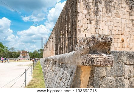 Chichen Itza Mexico - April 18 2016: Archaeological site the ancient Ball Game wall (Juego de Pelota)