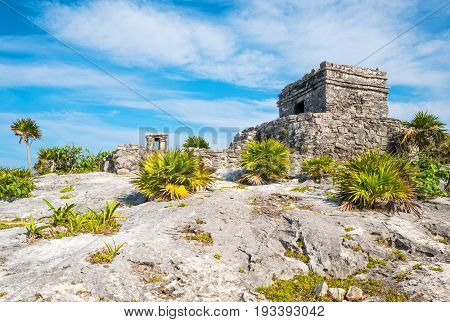 Tulum Mexico the Wind Temple of the Mayan city archaeological site