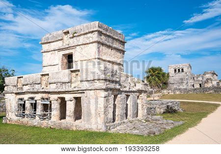 Tulum Mexico the Temple of Frescoes in the Mayan city archaeological site
