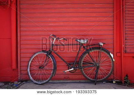 Vintage Bicycle Against Old Brick Wall