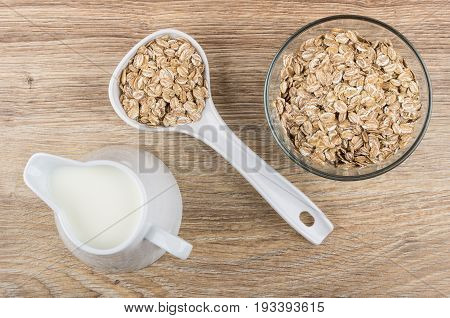 Rye Flakes In Bowl, Plastic Spoon And Milk